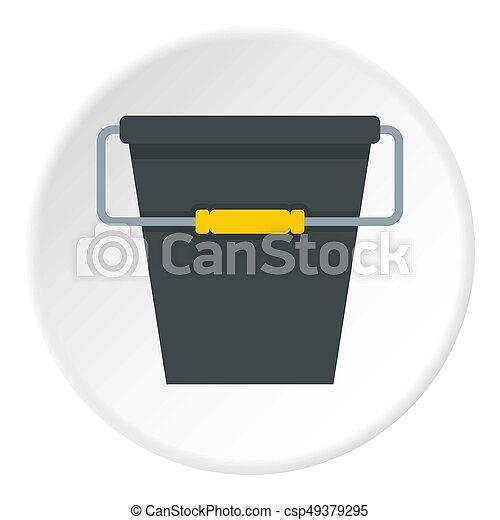 Black bucket icon circle - csp49379295