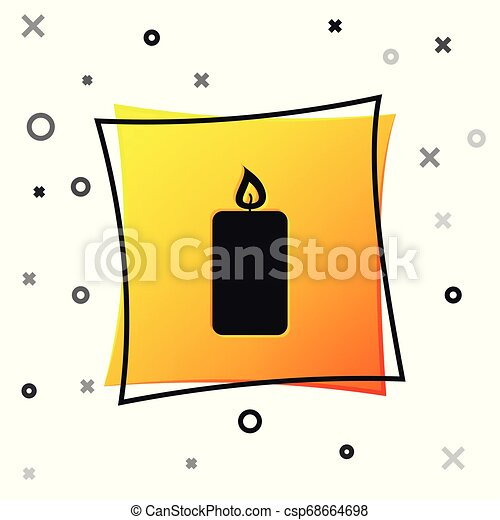 Black Burning candle icon isolated on white background. Old fashioned lit candle. Cylindrical aromatic candle stick with burning flame. Yellow square button. Vector Illustration - csp68664698