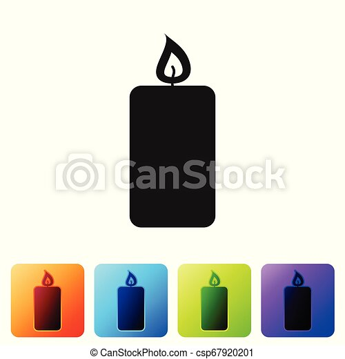 Black Burning candle icon isolated on white background. Old fashioned lit candle. Cylindrical aromatic candle stick with burning flame. Set icon in color square buttons. Vector Illustration - csp67920201