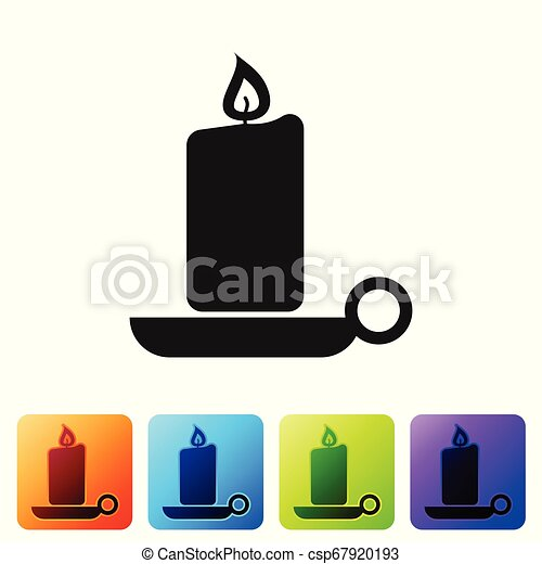 Black Burning candle in candlestick icon on white background. Old fashioned lit candle. Cylindrical aromatic candle stick with burning flame. Set icon in color square buttons. Vector Illustration - csp67920193