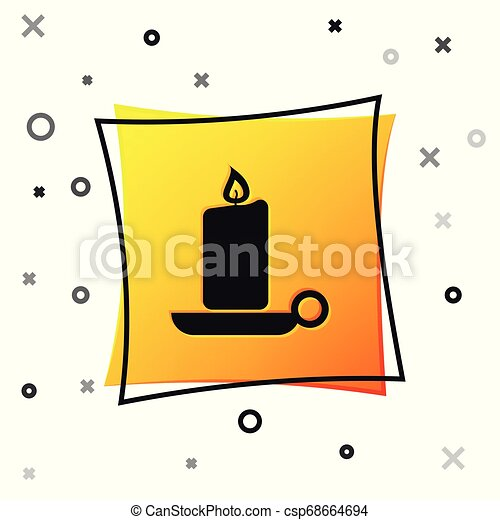 Black Burning candle in candlestick icon isolated on white background. Old fashioned lit candle. Cylindrical aromatic candle stick with burning flame. Yellow square button. Vector Illustration - csp68664694