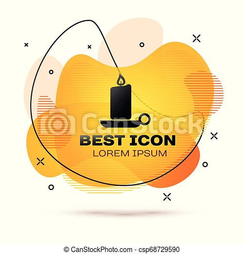 Black Burning candle in candlestick icon isolated on white background. Old fashioned lit candle. Cylindrical aromatic candle stick with burning flame. Fluid color banner. Vector Illustration - csp68729590