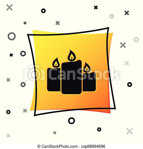Black Burning candles icon isolated on white background. Old fashioned lit candles. Cylindrical aromatic candle sticks with burning flames. Yellow square button. Vector Illustration - csp68664696