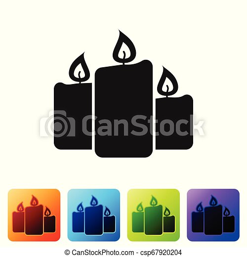 Black Burning candles icon isolated on white background. Old fashioned lit candles. Cylindrical aromatic candle sticks with burning flames. Set icon in color square buttons. Vector Illustration - csp67920204