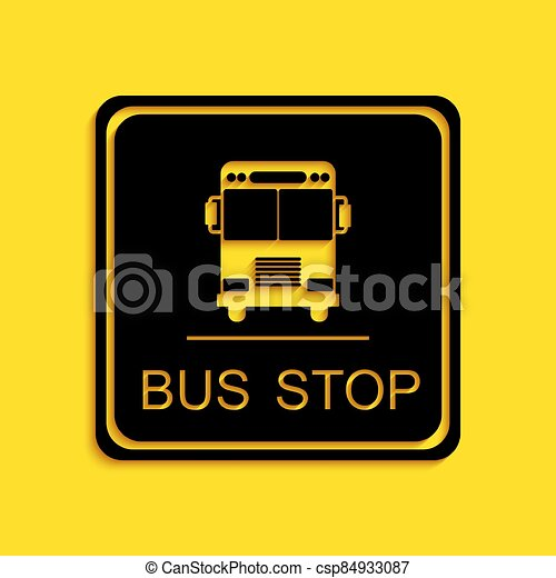 Black Bus stop icon isolated on yellow background. Long shadow style. Vector - csp84933087