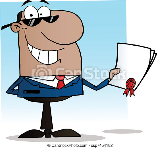 Black Businessman Showing Contract - csp7454182