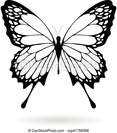 Black Butterfly Silhouette Illustration - csp41766066