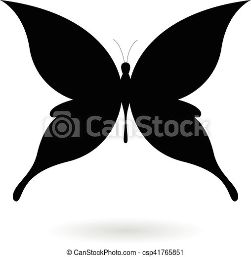 Black Butterfly Silhouette Illustration - csp41765851