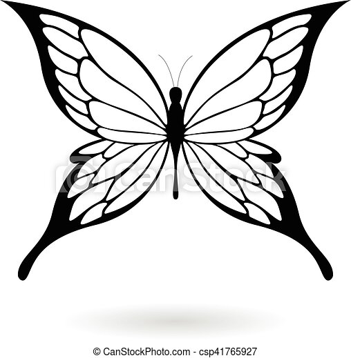 Black Butterfly Silhouette Illustration - csp41765927