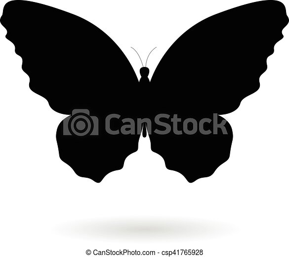 Black Butterfly Silhouette Illustration - csp41765928