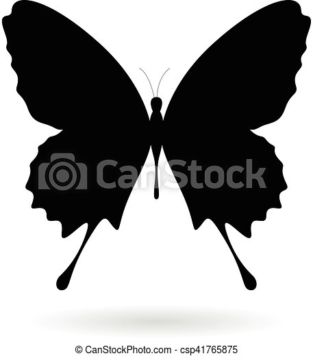 Black Butterfly Silhouette Illustration - csp41765875