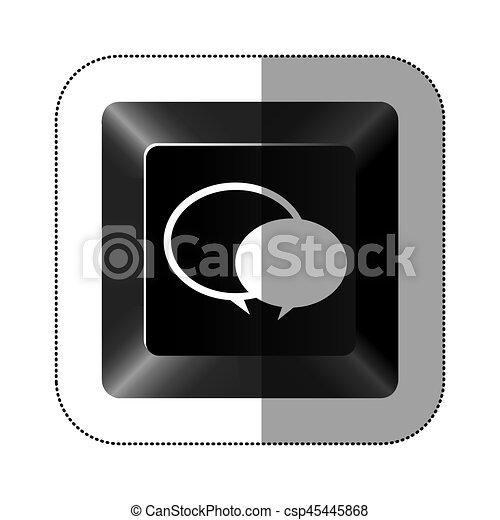 black button round chat bubbles icon - csp45445868