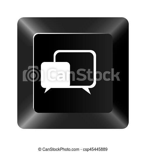 black button square bubble icon - csp45445889