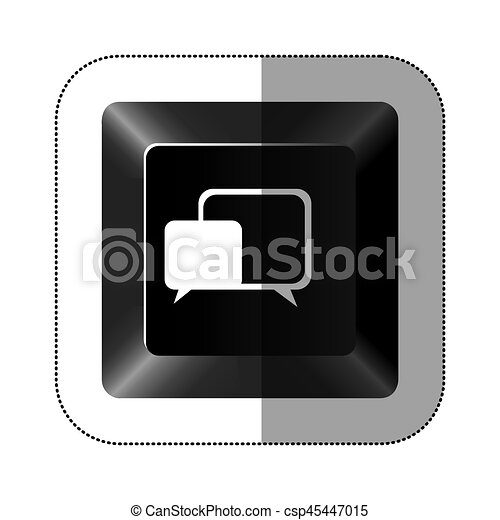 black button square bubble icon - csp45447015
