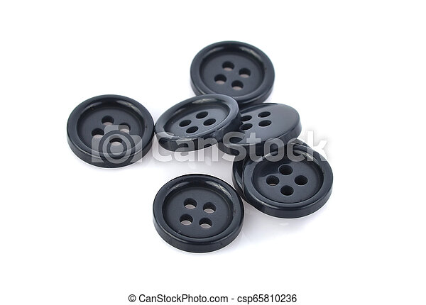 Black buttons isolated on white background - csp65810236