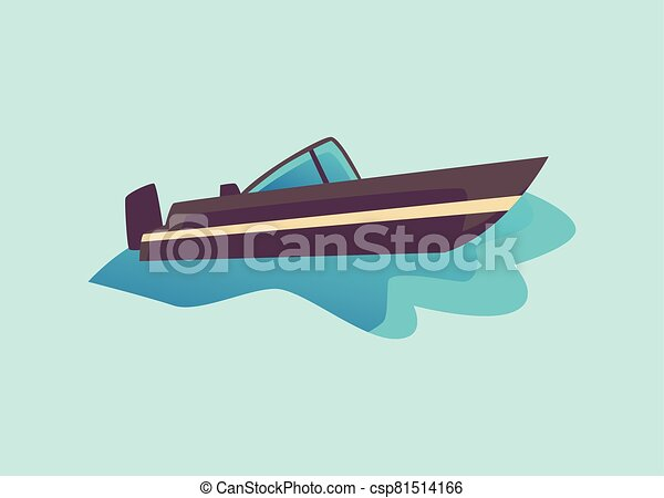 Black cabin cruiser motorboat in water - dark grey speed boat from side view - csp81514166