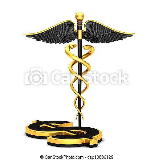 Black caduceus medical symbol - csp10886129