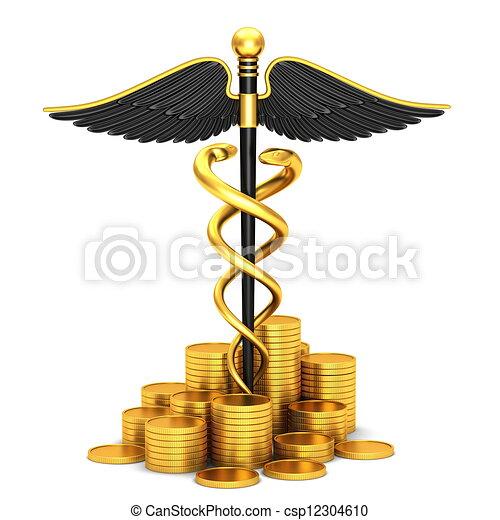 Black caduceus medical symbol - csp12304610