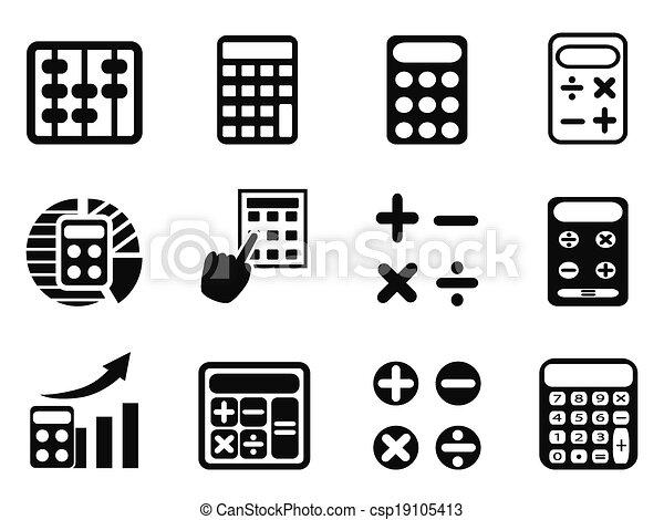 black Calculator icons set - csp19105413