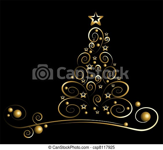 black card with gold christmas tree csp8117925