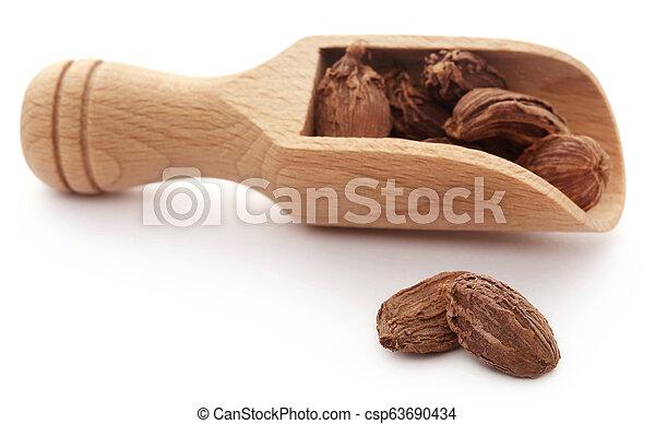 Black cardamom in wooden scoop - csp63690434