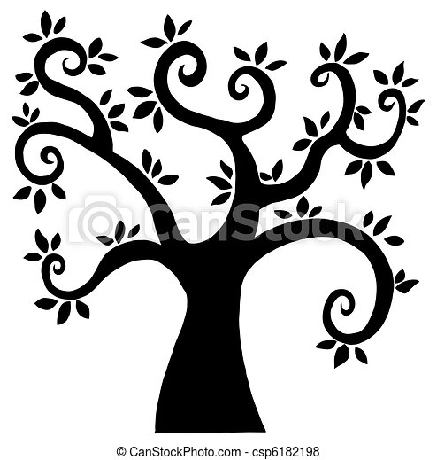 Black Cartoon Tree Silhouette  - csp6182198