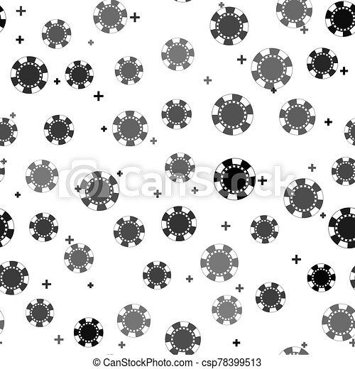 Black Casino chip icon isolated seamless pattern on white background. Vector Illustration - csp78399513