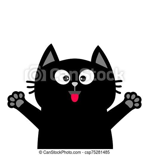 Black Cat Face Head Tongue Paw Print Silhouette Adopt Me Cute