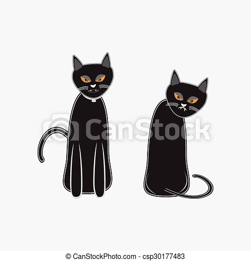 Black Cat For Halloween Symbol Vector Illustration