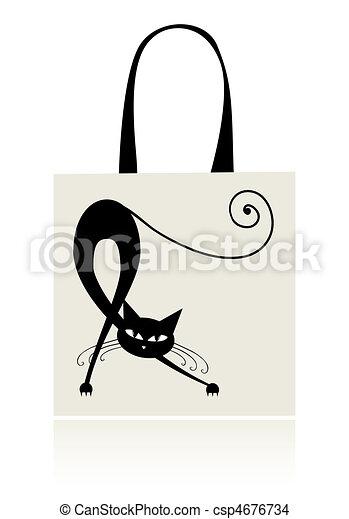 Black cat graceful, design of shopping bag - csp4676734