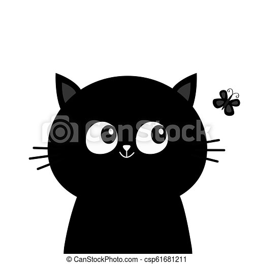 Black Cat Head Face Silhouette Looking At Butterfly Insect Cute