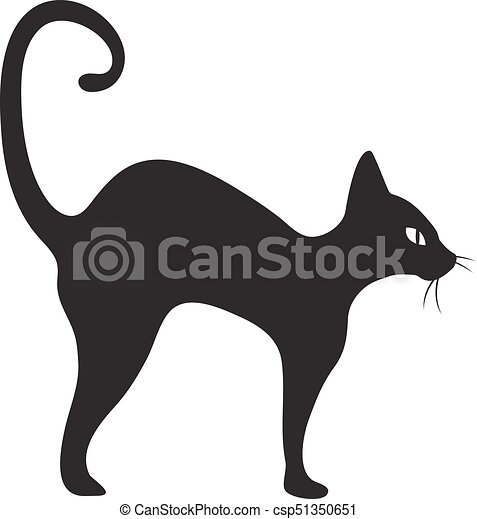Black cat icon flat style. Isolated on white background. Vector illustration. - csp51350651