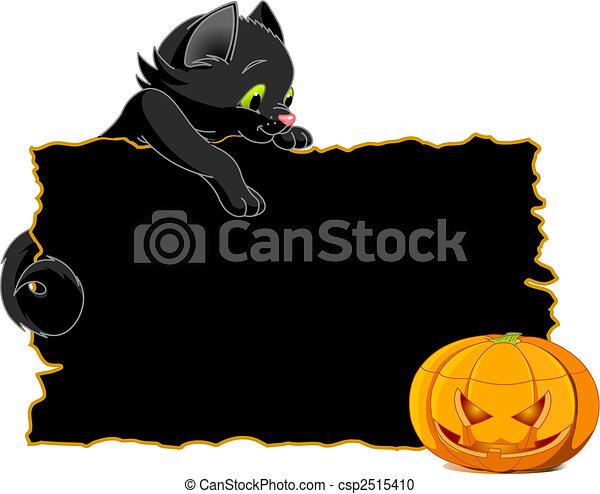 Black Cat Invite or Placard - csp2515410