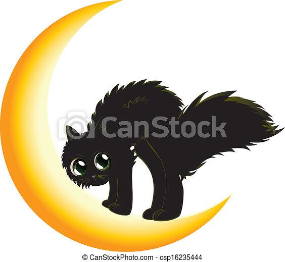 Black cat on moon - csp16235444