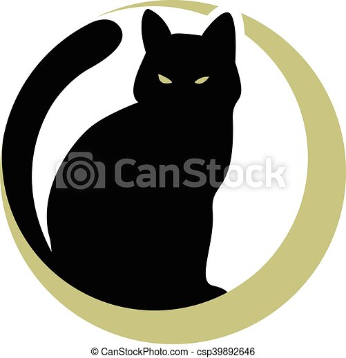 black cat on the moon - csp39892646