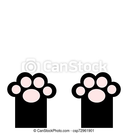 Black Cat Paw Print Leg Foot With Pink Pads Cute Cartoon Kawaii Funny Character Body Part Silhouette Baby Pet Collection