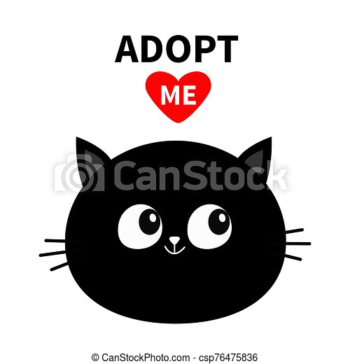 Black Cat Round Face Silhouette Adopt Me Red Heart Pet Adoption