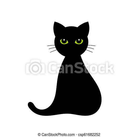 Black cat with green eyes - csp61682252