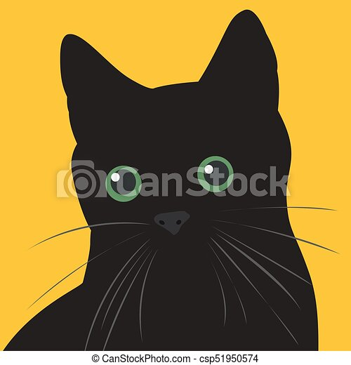 Black cat with green eyes - csp51950574