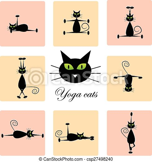 black cats doing yoga set of cute black cats doing yoga