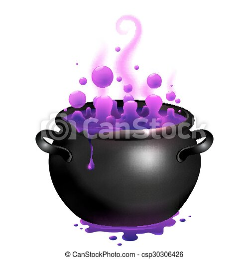 Black cauldron with purple witches magic potion - csp30306426