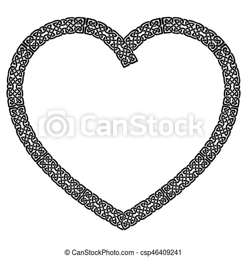 Black Celtic Style Knotted Heart In White With Black Stroke With
