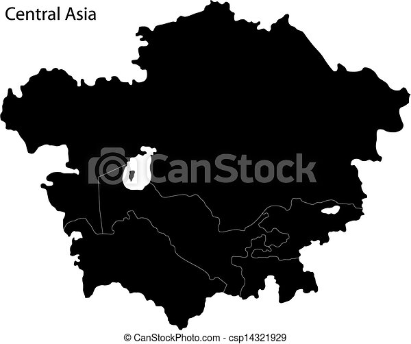 Black Map Of Asia.Black Central Asia