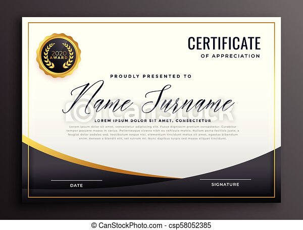 black certificate of appreciation template - csp58052385