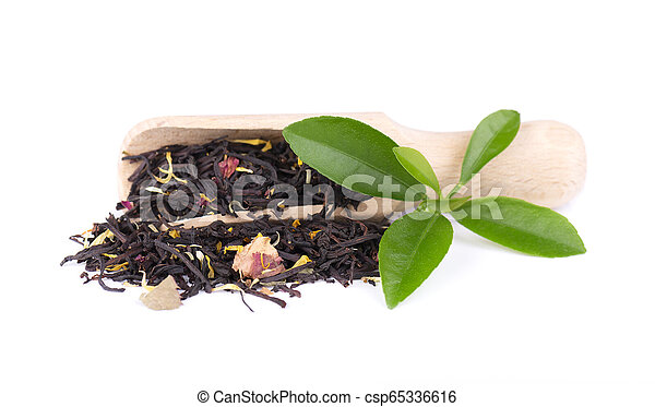 Black ceylon tea with rose petals, cornflowers and sunflower, isolated on white background. - csp65336616