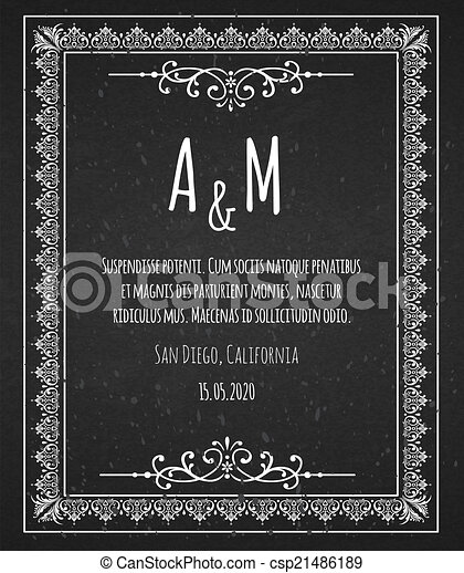 black chalk board template vintage frame
