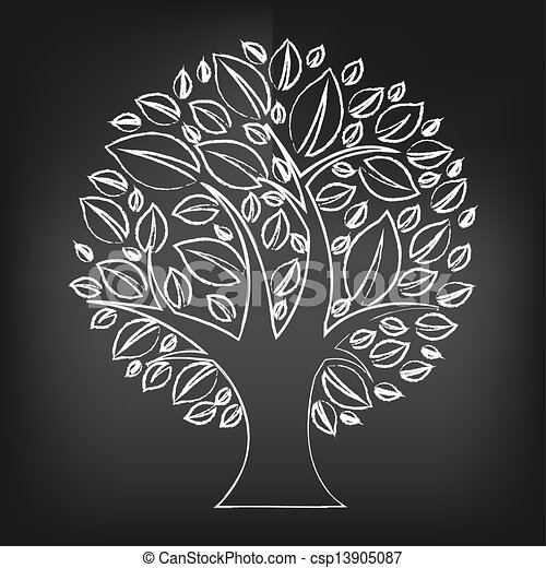 Black Chalk Board With Abstract Tree - csp13905087