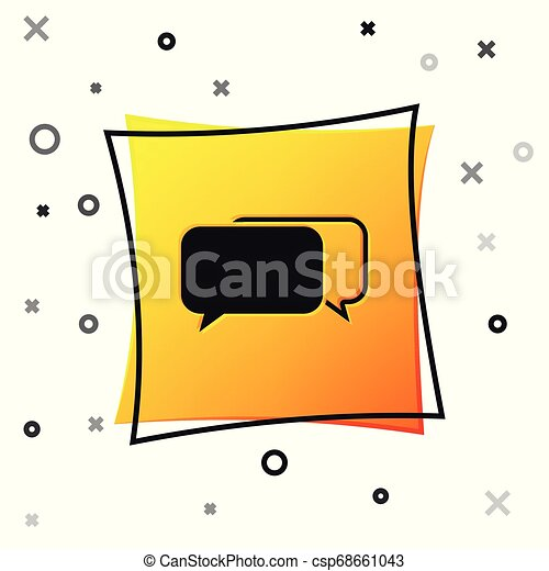 Black Chat icon isolated on white background. Speech bubbles symbol. Yellow square button. Vector Illustration - csp68661043