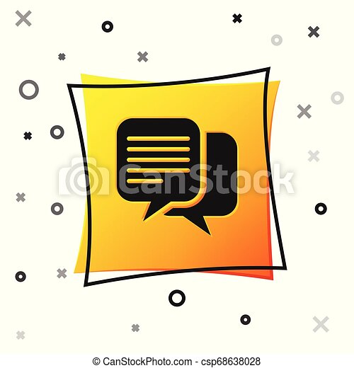 Black Chat icon isolated on white background. Speech bubbles symbol. Yellow square button. Vector Illustration - csp68638028