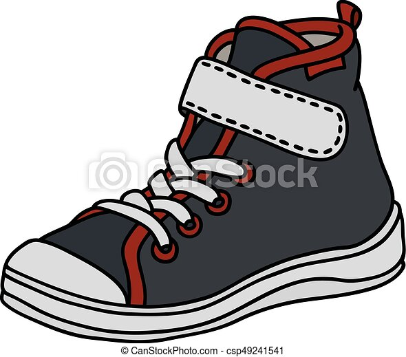 black childrens sneaker hand drawing of a black red and eps rh canstockphoto com sneaker vector nike sneaker vector free download